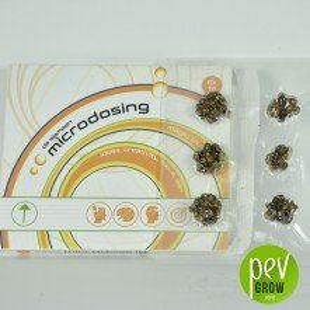 Microdose de truffes magiques, protégées par le vide, dans une Microboîte en carton.
