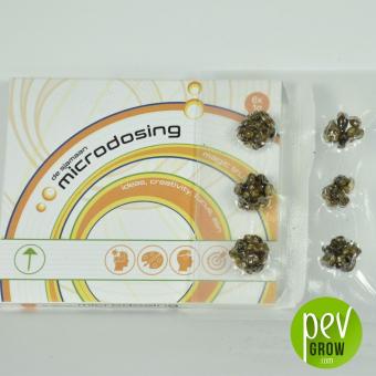 Microdosis de Trufas Mágicas, protegidas al vacio en una microcaja de cartón.
