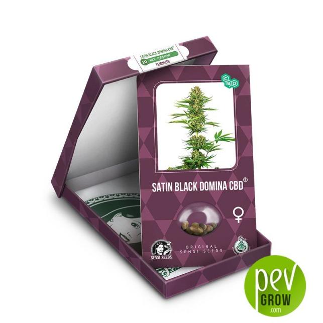 Satin Black Domina CBD envase - Sensi Seeds