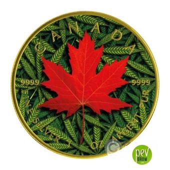Moneda de plata 5 dólares Canadienses Marihuana