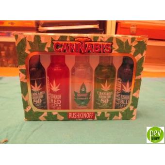 Set da collezione di Vodka Rushkinoff alla cannabis