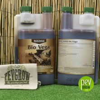 Canna Bio Vega, biological growth fertilizer in a transparent container .