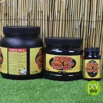 Agrobeta Mega Pk in dark jars of various sizes.