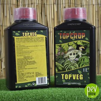Top Veg de Top Crop ,en formato de 1L , en botella de plástico reforzado de color negro.