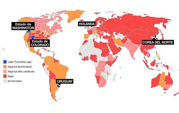 La tolerancia del cannabis en cada país. Cortesía de Wikipedia.