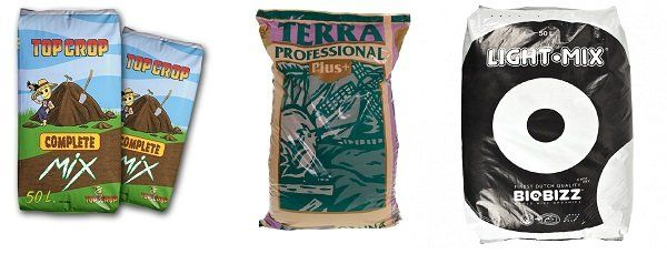 Complet Mix de Top Crop, Canna Terra Profesional Plus de Canna y el Light Mix de Biobizz