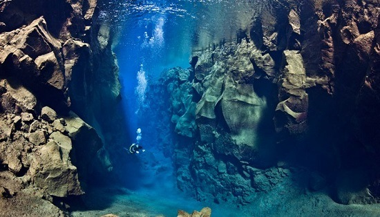 The Silfra rift in Iceland: the only place in the world where you can dive between two continental plates