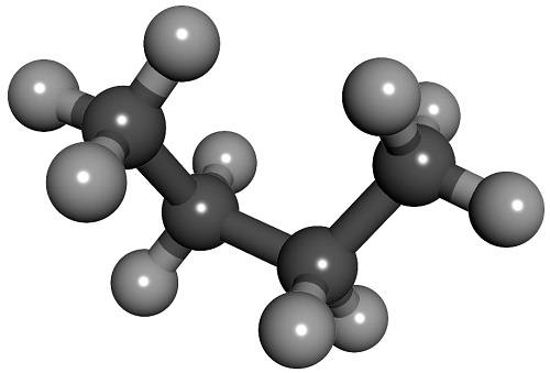 Molecola di butano (C4H10) rappresentata in un modello con sfere.