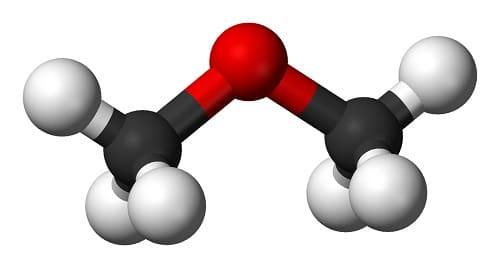 Dimethyl ether molecule (C2H6O) represented as balls model. The red atom represents oxygen.
