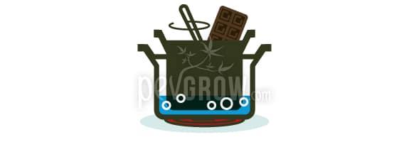 Die Schokolade im Wasserbad schmelzen