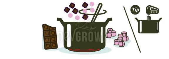 Ajouter le chocolat, les guimauves et les ingrédients facultatifs.