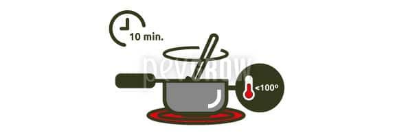 Maintenir un feu moyen pendant environ 10 minutes.