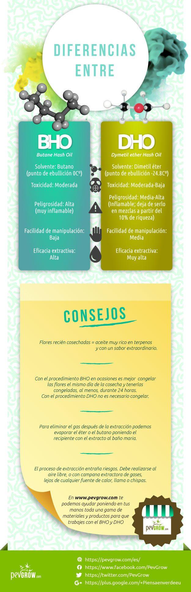Infografia sobre las principales diferencias entre extracción BHO y DHO