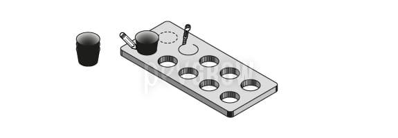 Coloca las macetas encima de la tabla