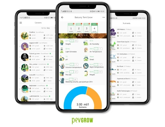 Screenshots of the App of Growdiaries where you can see all the data related to a marijuana crop