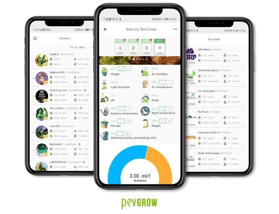 Captures d'écran de l'App de Growdiaries où vous pouvez voir toutes les données relatives à une culture de cannabis