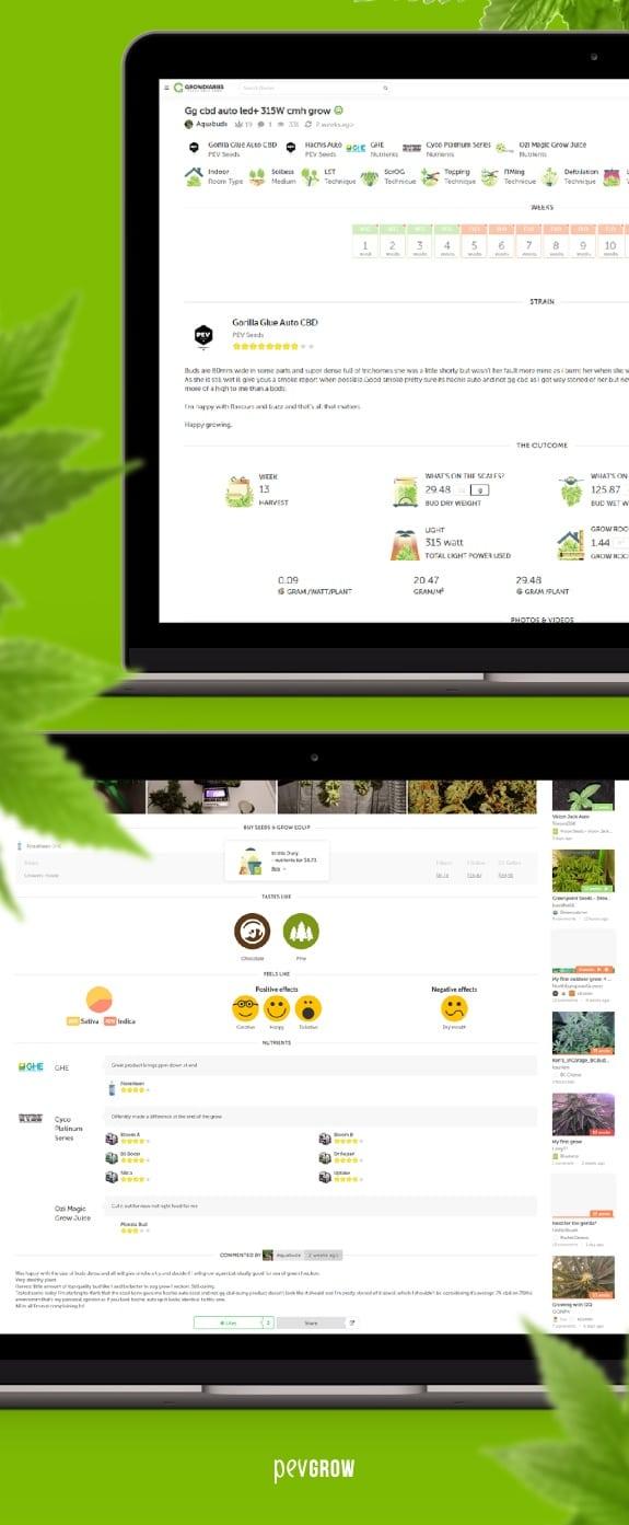 Captures d'écran du site Web de Growdiaries montrant comment vous pouvez facilement ajouter vos données de culture