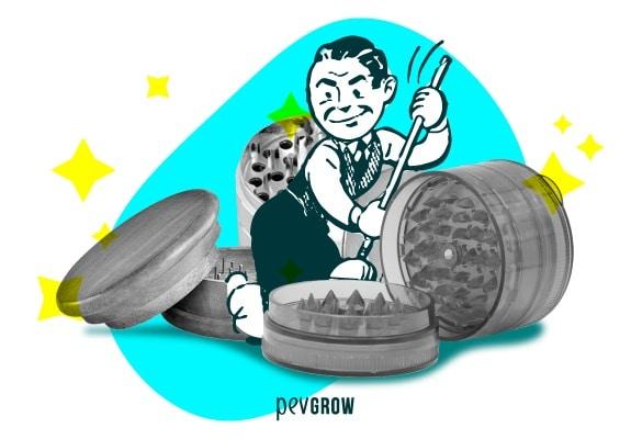 ilustracionde un hombre limpiando tres grinders