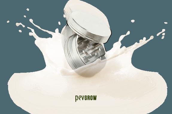 Image of a grinder inside a glass of milk*.