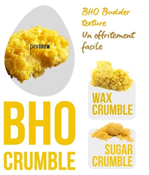 Image agrandie d'un morceau de BHO Crumble, Wax Crumble, Sugar Crumble*