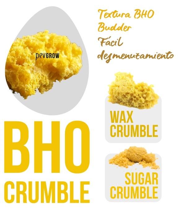Imagen ampliada de un trozo de BHO Crumble, Wax Crumble, Sugar Crumble*.