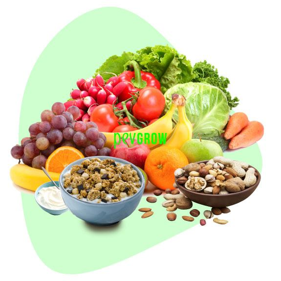 Image of an example of healthy food with fruits, vegetables and nuts*