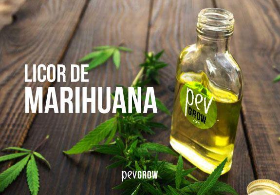 Imagen con un fraco de licor de marihuana marca PEV y hojas esparcidas de cannabis