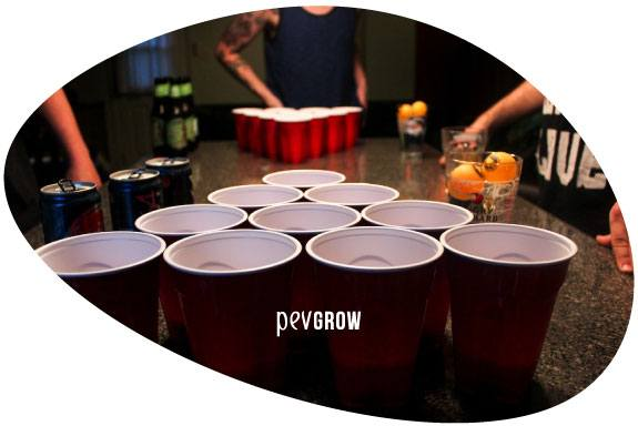 Photograph of several plastic cups in formation to play ball shooting*