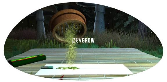 Imagen donde se ve caer yerba picada de un grinder en el juego iSmoke: Weed HD*